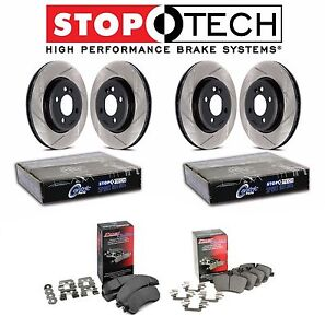 For Honda Acura Front Rear Stoptech Slotted Brake Rotors Kit Pq Ceramic Pads