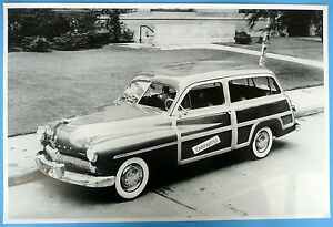 12 By 18 Black White Picture 1949 Mercury 2 Door Woody Station Wagon