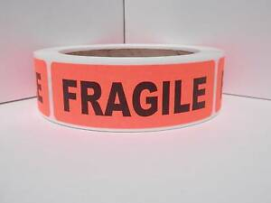 Fragile 1 125 x3 5 Rect Warning Stickers Labels Fluorescent Red Bkgd 250 rl