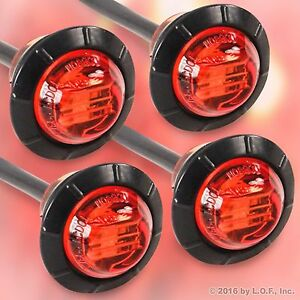 4 Red 3 4 Marker Lights Triple Diode Led Truck Trailer Clearance Indicator New