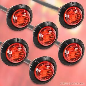 6 Red 3 4 Marker Lights Triple Diode Led Truck Trailer Clearance Indicator New