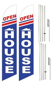 Windless Swooper Flag Kit Twin Pack Open House Home Red White Blue