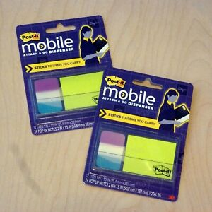 2 Post it Mobile Attach And Go Pop up Sticky Notes Notetabs Tabs Dispenser Combo