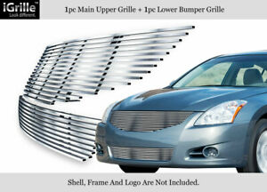 Fits 2010 2012 Nissan Altima Sedan Stainless Steel Billet Grille Combo