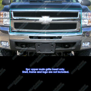 Fits 2007 2010 Chevy Silverado 2500 Hd 3500 Hd Stainless Black Mesh Grille
