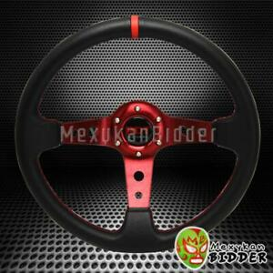 Universal Black red 350mm Drifting 6 bolt Deep Dish Steering Wheel Honda Acura