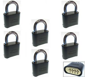 Combination Lock Set By Master 178dblk lot Of 6 Resettable Brass Insert Black
