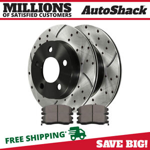 Front Drilled Slotted Brake Rotors And Ceramic Pads Kit For 2002 2007 Saturn Vue