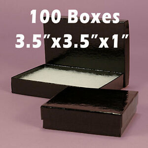 100 Black Gloss Square Jewelry Bracelet Gift Box Padding Filled 3 5 X 3 5 X 1