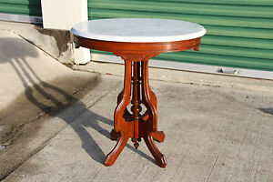 Nice Oval Walnut Victorian Marble Top Parlor Table Ca 1870