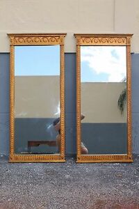 Pair Mid Century Giltwood Embossed Tall Mirrors Circa 1950 S
