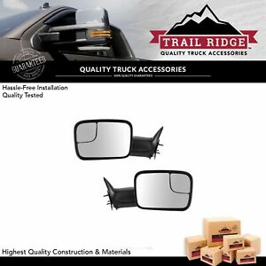 Trail Ridge Tow Mirror Manual 7x10 Textured Black Flip Up Pair Set For Dodge Ram