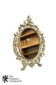 Antique Baroque Style Gilt Brass Framed Table Top Vanity Mirror Makeup Repousse