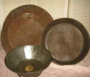 3 Antique Primitive Tin Sieve Pan Farm Kitchen Grain Sifter Mesh Collander Lot