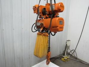 Beebe Le3s020m4 2 Ton Powered Trolley Chain Hoist Crane 20 Lift 220 440v Tested