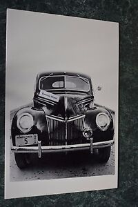 12 By 18 Black White Picture 1939 Ford Deluxe Front End Grill Shot
