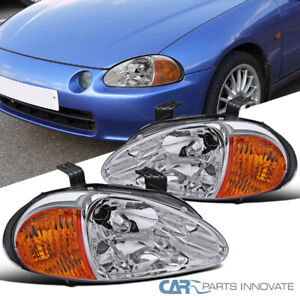 For 93 97 Honda Civic Del Sol Clear Lens Headlights Driving Head Lamps Pair
