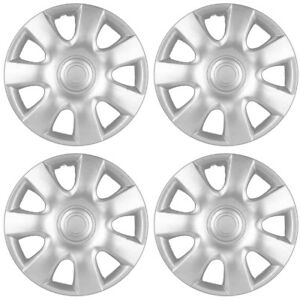 4 Pc Set Of 15 Inch Silver Hubcaps Full Lug Skin Rim Cover For Oem Steel Wheel