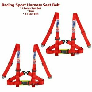 Racing Sports 4 Point 2 Inch Harness Seat Belt Safety Belt Red 1 Pair