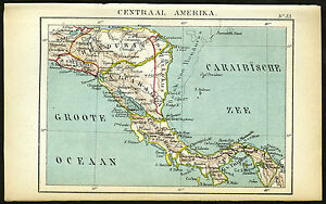 Antique Map Central America Panama Honduras Nicaragua Jacob Kuyper 1880