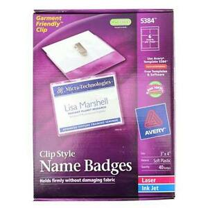 New Avery Laser And Inkjet 3 X 4 Clip Name Badges 40pk 538 Free Shipping