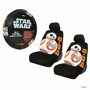 New Disney Star Wars Bb 8 Car Truck Front Seat Covers Steering Wheel Cover Set