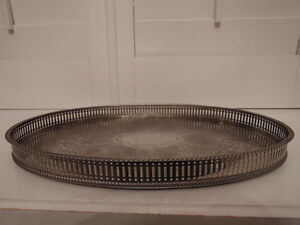 Vintage English Silverplate Oval Reticulated Gallery 16 Tray Silver Plate