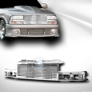 Fit 98 04 Chevy S10 Blazer truck Chrome Horizontal Front Bumper Grill Grille Abs
