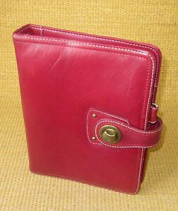 Classic 1 125 Rings Red Leather Franklin Covey Open latch Lock Planner binder