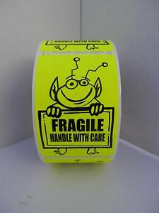 Fragile Handle With Care Cute Yellow Alien Holding Sign 2x3 Sticker Label 250 rl