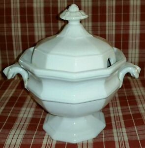 C 1853 English White Ironstone Gothic Form Sauce Tureen By George Wooliscroft