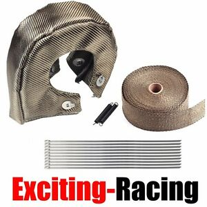 T4 Titanium Turbo Heat Shield Blanket Cover 2 50ft Exhaust Header Wrap Tape