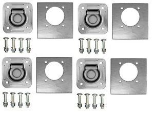 4 pack Tiedown Recessed D ring 5 000lb Trailer Rope Strap Tie W hardware