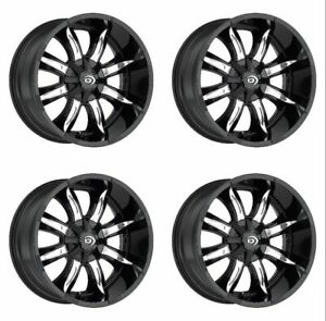 Set 4 17 Vision 423 Manic Black Machined Rims 17x9 8x6 5 12mm Chevy Gmc 8 Lug