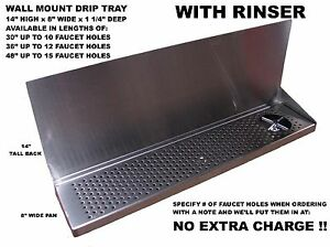 Draft Beer Tower Wall Mt Drip Tray 48 L With Rinser S s grill Dtwm48ss 8 r