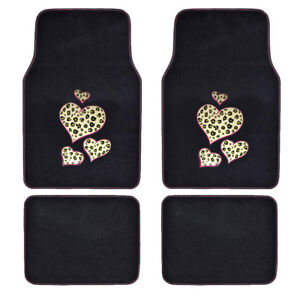 New Love Cheetah Hearts Logo Car Truck Suv Front Rear Carpet Floor Mats Set