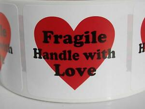 Fragile Handle With Love With Heart 1 75x2 Warning Stickers Labels 250 rl
