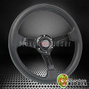 Universal Black 330mm Drifting 6 bolt 2 Deep Dish Steering Wheel Honda Acura