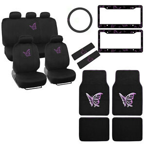 New Purple Butterfly Car Front Back Seat Covers Floor Mats Steering Wheel Cover
