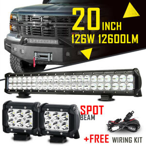 20inch 126w 4 18w Spot Flood Combo Cree Led Work Light Bar Offroad Truck 22 24