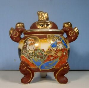 Vintage Japanese Porcelain Incense Burner Foo Dogs Hand Painting Circa 1930s