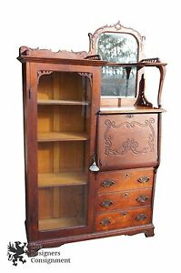 Antique Rockford Side By Side Bookcase Secretary Desk Mirror Carved Mahogany