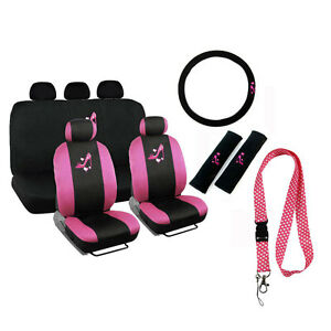 New Love Pink High Heel Hearts Car Front Back Seat Covers Lanyard Keychain Set