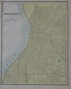 1891 Memphis Tn Original Color Atlas Map Denver Map On Back 127 Yrs Old