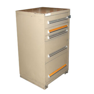 Stanley Vidmar 30 X 27 5 X 44 Tan 5 drawer Industrial Storage Cabinet