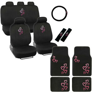 New Pink Hearts Car Front Back Seat Covers Floor Mats Steering Wheel Cover Set