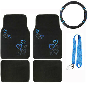 New Blue Hearts Heart Car Truck Front Rear Floor Mats Steering Wheel Cover Set