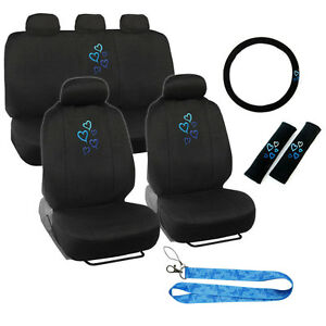 New Blue Hearts Car Front Back Seat Covers Steering Wheel Cover