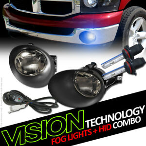 10k Hid Xenon Smoke Driving Fog Lights W Switch Cover Dy For 02 09 Ram Durango