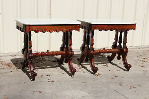 Fabulous Rare Pair Of Ornate Brooks Walnut Victorian Marble Top Library Tables